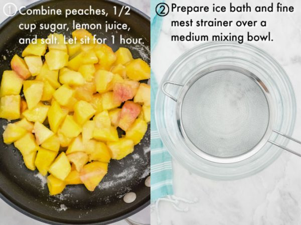 Peaches in a pan and a fine mesh strainer set over an ice bath.