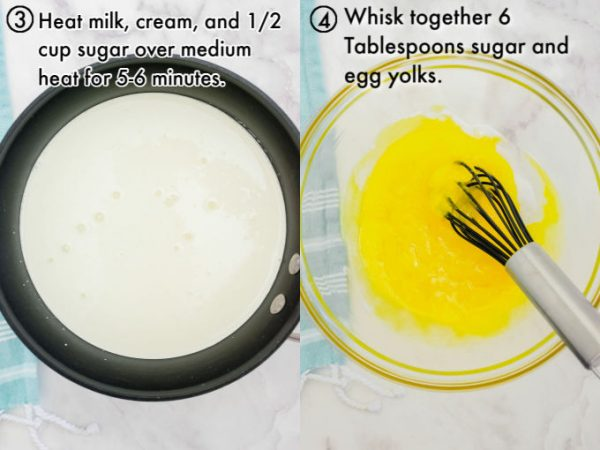 The cream mixture heating up in a pan and the whisked egg yolks in a glass bowl.