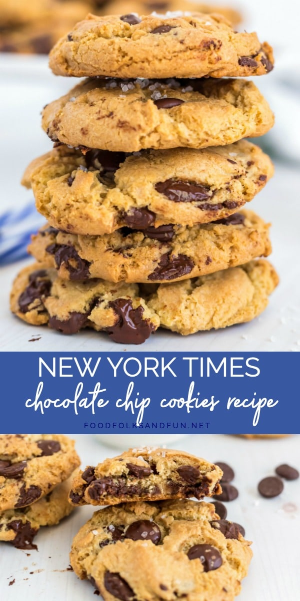This is the famous New York Times Chocolate Chip Cookies Recipe. The cookie is crispy on the outside, and soft and chewy on the inside. via @foodfolksandfun