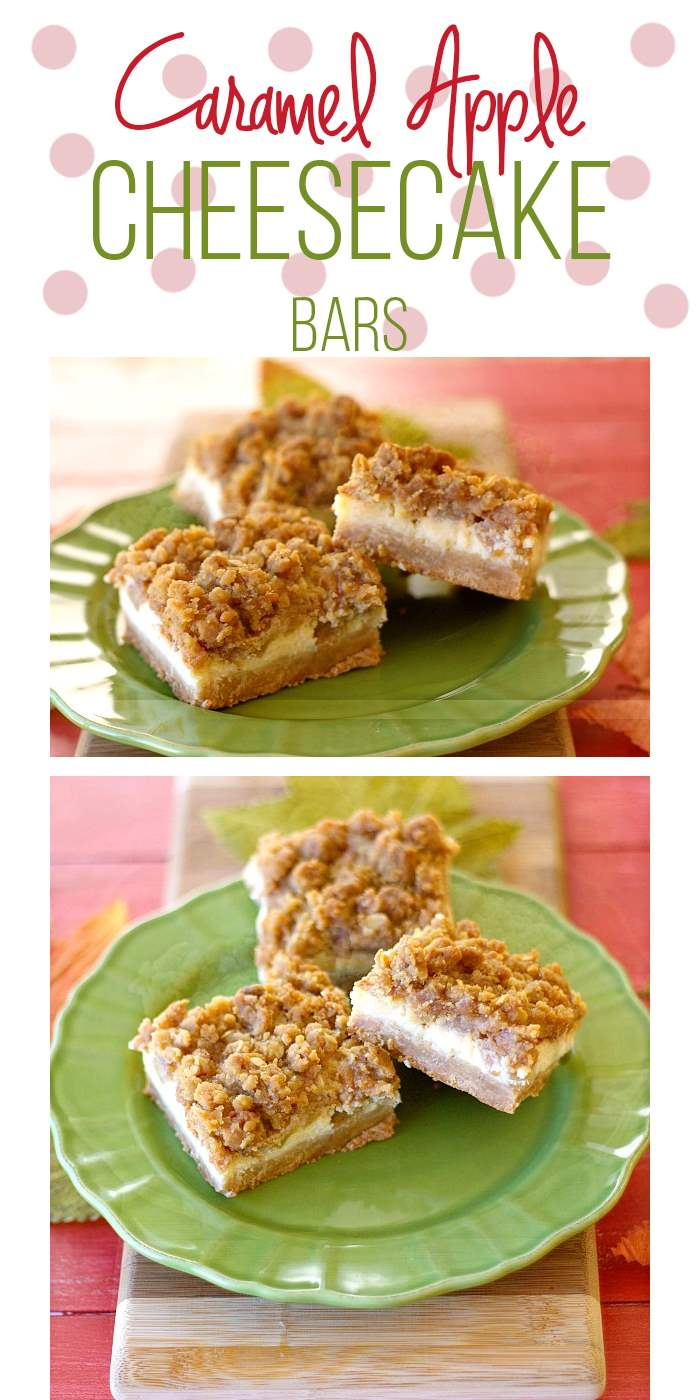 Caramel Apple Cheesecake Bars: Caramel + Apples + Cheesecake = a whole lotta love on a plate! These are a fabulous Fall dessert everyone will love!