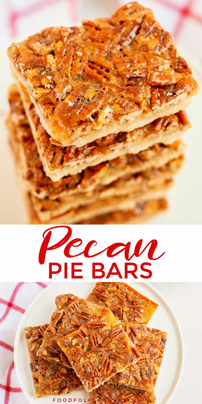 These Pecan Pie Bars are so easy to make and, believe it or not, BETTER than pecan pie! They're rich, silky, and the shortbread crust is the stuff your buttery dreams are made of! via @foodfolksandfun