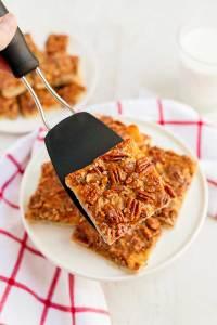 Easy Pecan Pie Bars with Shortbread Crust