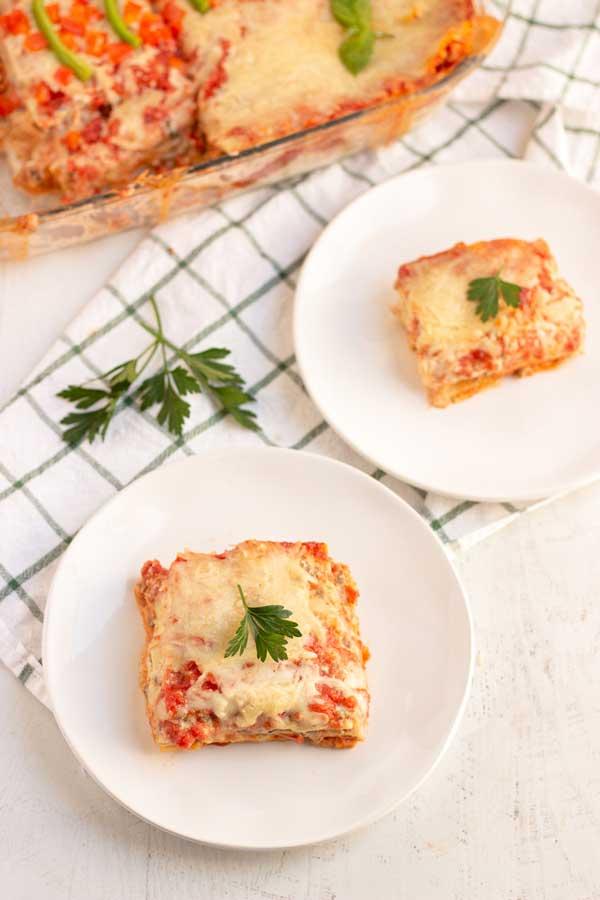 Cut up Sausage Lasagna for dinner