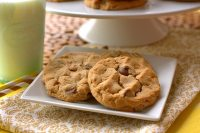These Peanut Butter Chocolate Chip cookies and thick, chewy, and loaded with peanut butter flavor and milk chocolate chips!