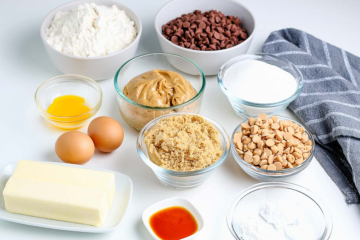 All of the ingredients needed to make the Best Peanut Butter Chocolate Chip Cookies recipe.