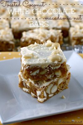 Toasted Coconut White Chocolate Macadamia Nut Bars