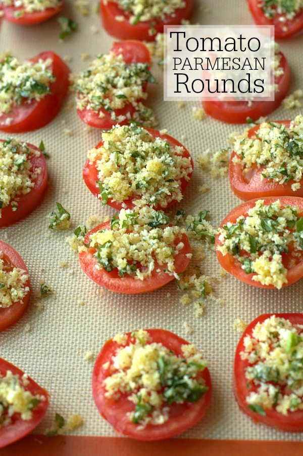 Baked Tomato Parmesan with Basil Zucchini Pasta on a baking mat with text overlay for Pinterest