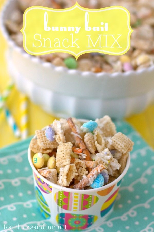 Sweet Chex mix in an Easter paper cup.
