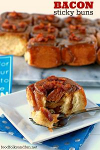 Sticky buns with bacon with text overlay for Pinterest.