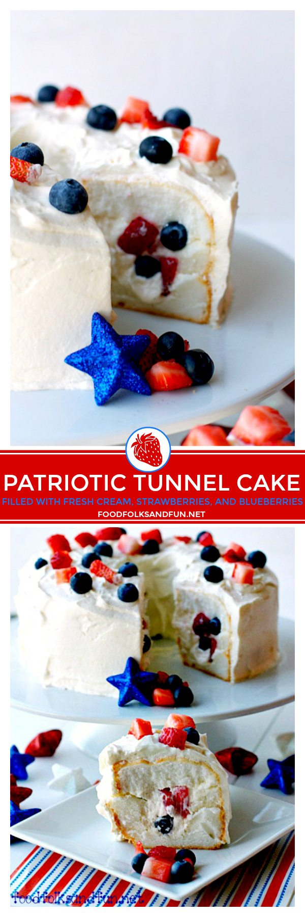 Picture collage of Patriotic Cake for Pinterest.