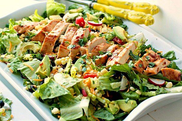 Salad on a serving platter.