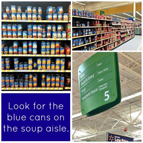A collage of the soup aisle at the grocery store