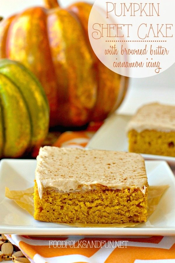 Pumpkin Sheet Cake with Browned Butter Cinnamon Icing