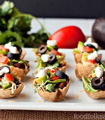 Taco Salad Mini Bites on a plate