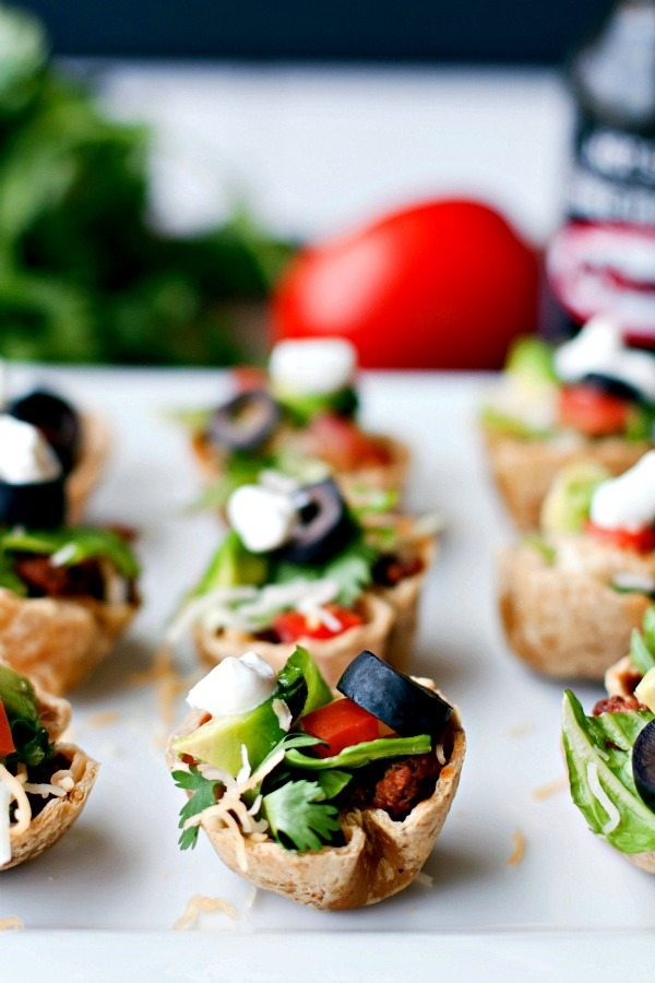 Rows of Taco Salad mini bites on a serving plate