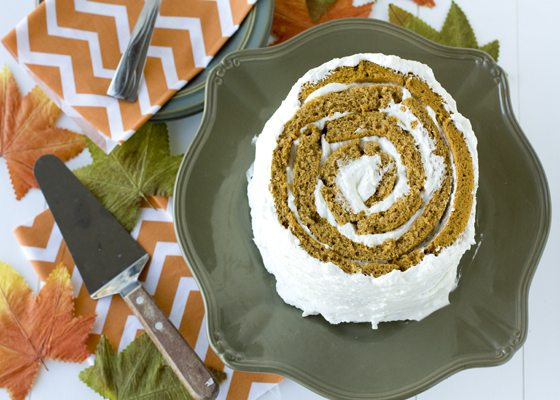 Pumpkin Blossom Cake on a serving platter