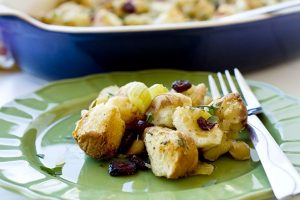 A plateful of Cranberry Macadamia Nut Stuffing