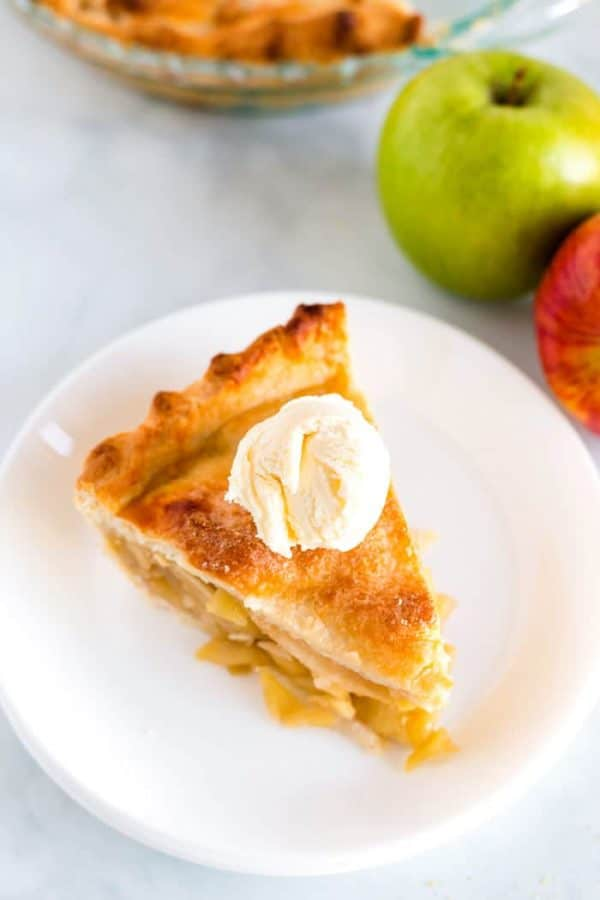 Overhead picture of apple pie with vanilla ice cream.
