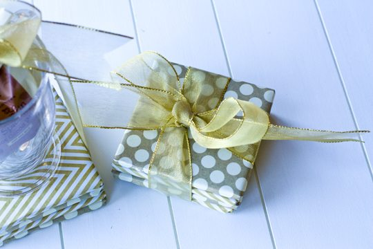 DIY coasters gift set wrapped with a bow