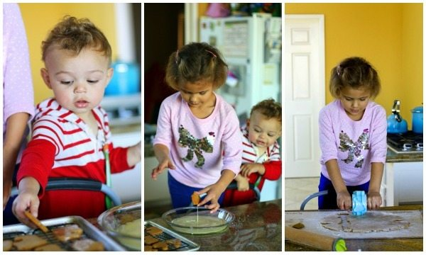 A collage of kids helping to make cookies
