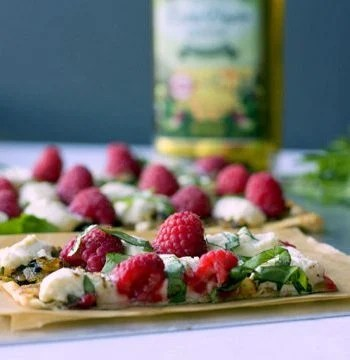 Raspberry Ricotta Flatbread on a serving platter
