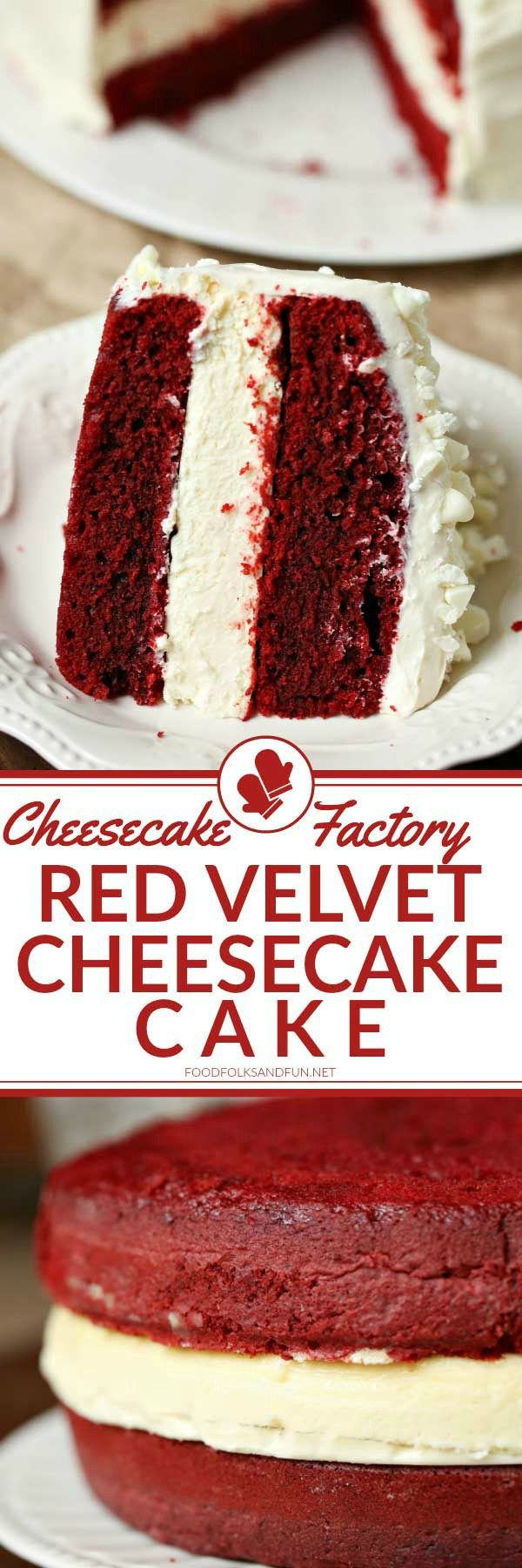 2 layers of red velvet cake with a layer of cheesecake in the center.