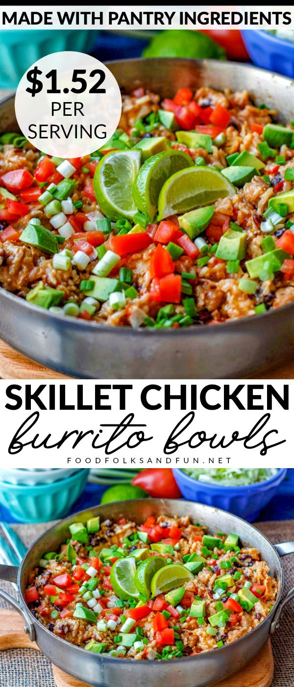 This One Pot Chicken Burrito Bowls recipe is a quick & easy one pot Mexican meal that feeds a crowd. It uses pantry ingredients and costs $1.52 per serving.  via @foodfolksandfun