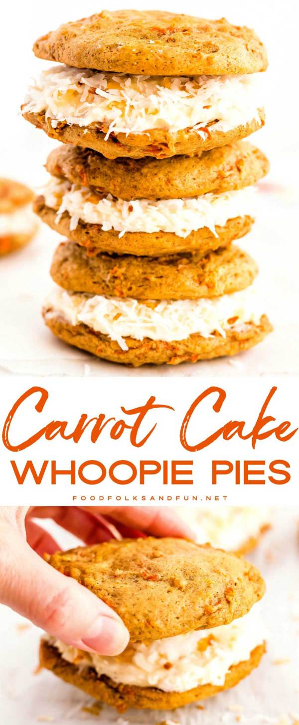Carrot Cake Whoopie Pies stacked on top of each other.