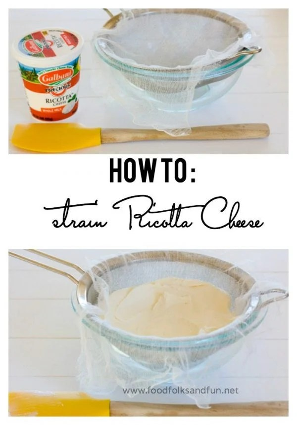 Picture collage of how to strain ricotta cheese for Pinterest.