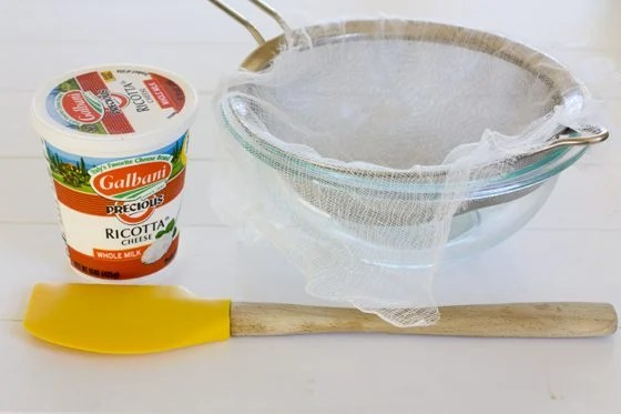 Everything needed to strain ricotta cheese