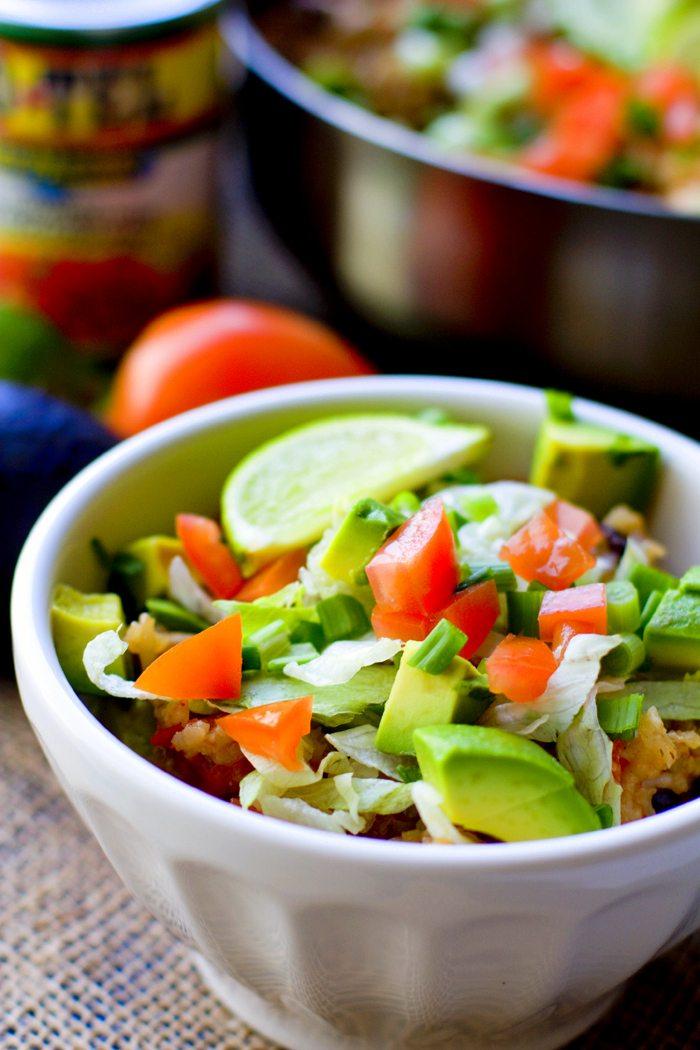 Close up picture of burrito bowls.