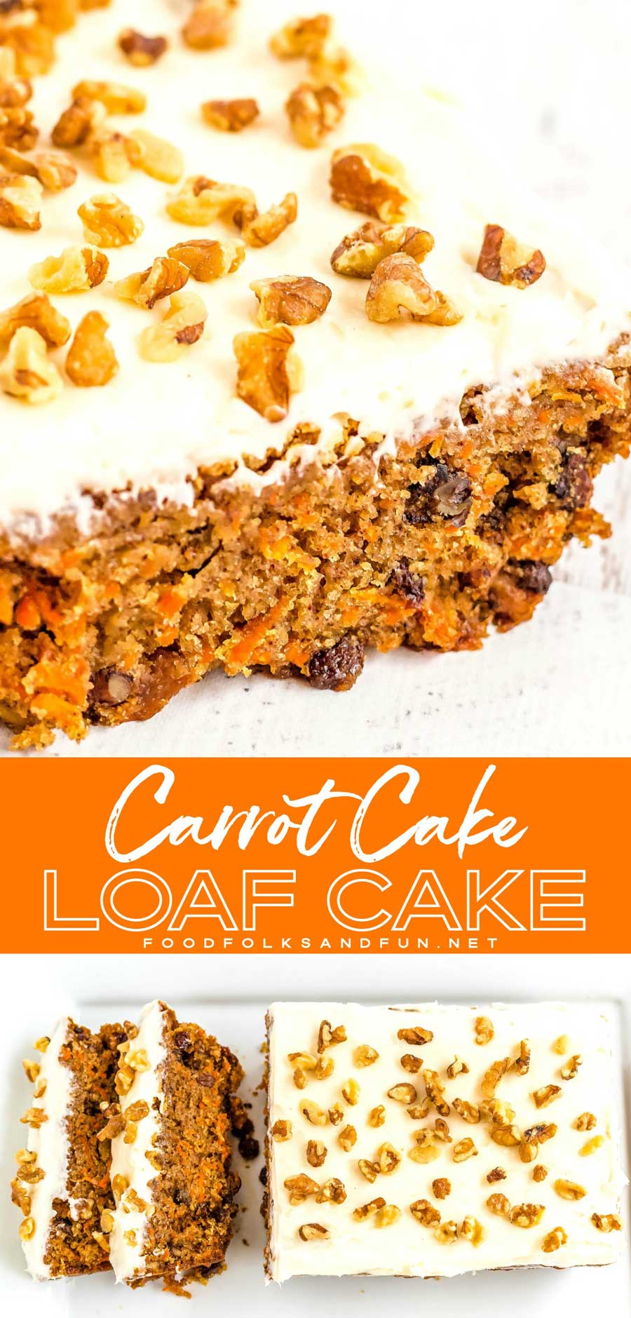 You'll love how easy and delicious this Carrot Cake Loaf recipe is. It's topped with my favorite recipe for fluffy cream cheese frosting! #easyrecipe #easydessert #carrotcake #cake #creamcheese #SpringRecipe #EasterRecipe #EasterDessert #SpringDessert #foodfolksandfun via @foodfolksandfun