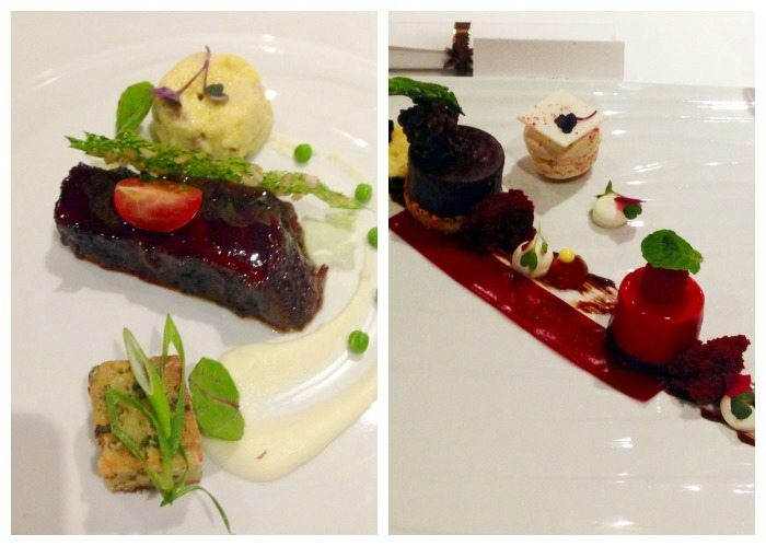 A collage of Wagyu and Pastry Chef, the 6th and 7th courses during dinner on a Carnival Cruise