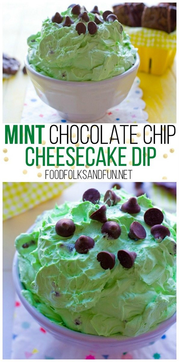 This Mint Chocolate Chip Cheesecake Dip recipe is a quick and easy dip that's great for parties. It comes together in just 5 minutes! via @foodfolksandfun