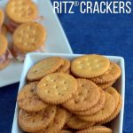 A bowl of Ritz Ranch crackers with text overlay for Pinterest