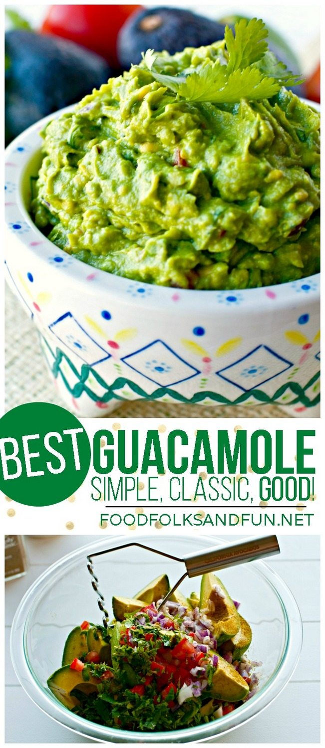 A bowl of guacamole with text overlay for Pinterest.