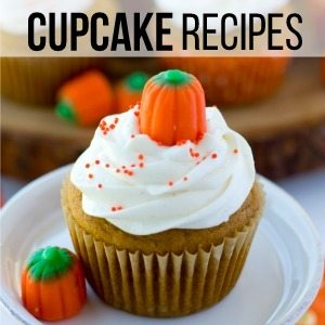 A pumpkin cupcake on a plate with text overlay for social media