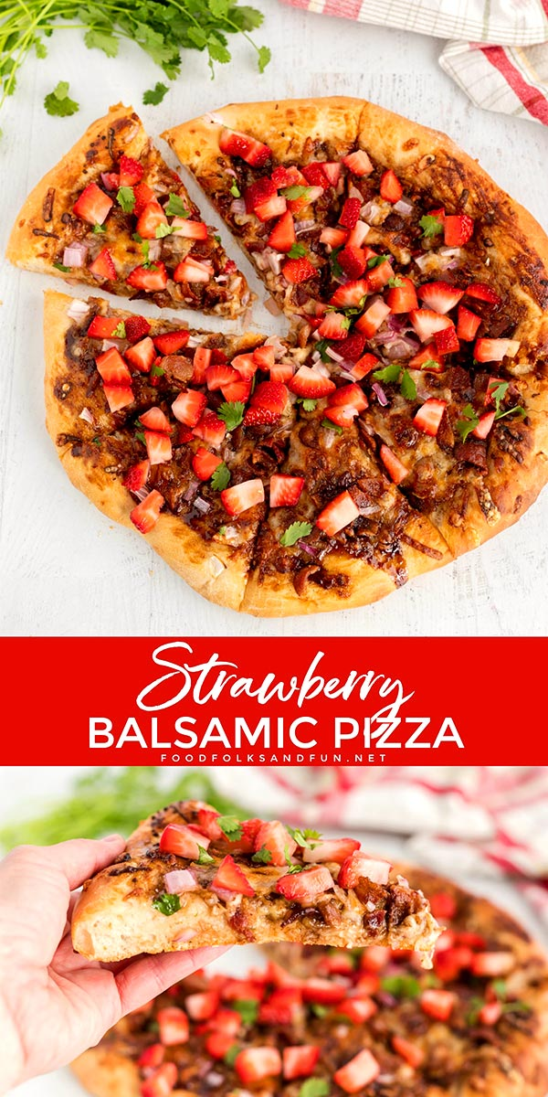Strawberry Pizza with Bacon and Balsamic is one of my favorite pizza creations. This pizza recipe packs layers of savory and sweet flavors. via @foodfolksandfun
