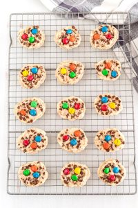 Bake the cookies and then move them to a wire rack to cool.