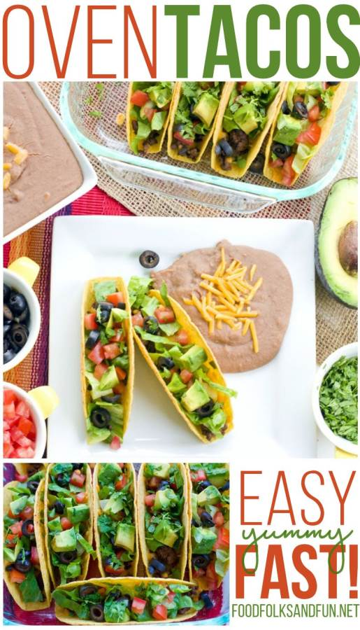 A collage of oven tacos on a plate with text overlay for Pinterest