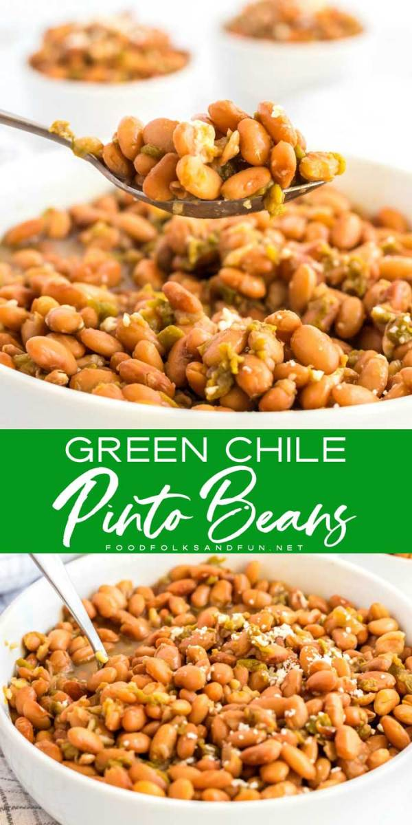 Green Chile Pinto beans in bowls ready to be served.