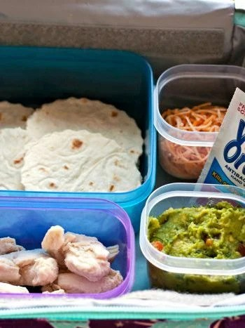 Lunch box Tacos in Tupperware containers