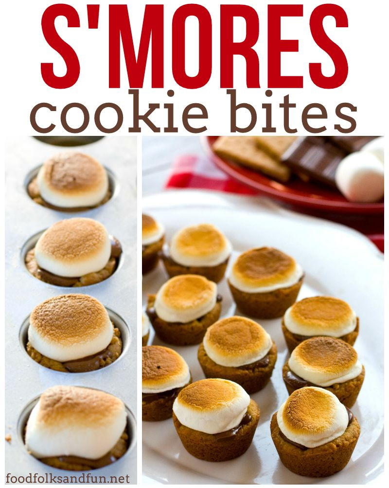 A collage of S\'mores cookie bites with text overlay for Pinterest
