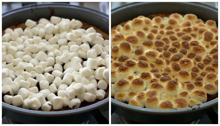 A collage of process shots of making S\'mores Cookie Pizza