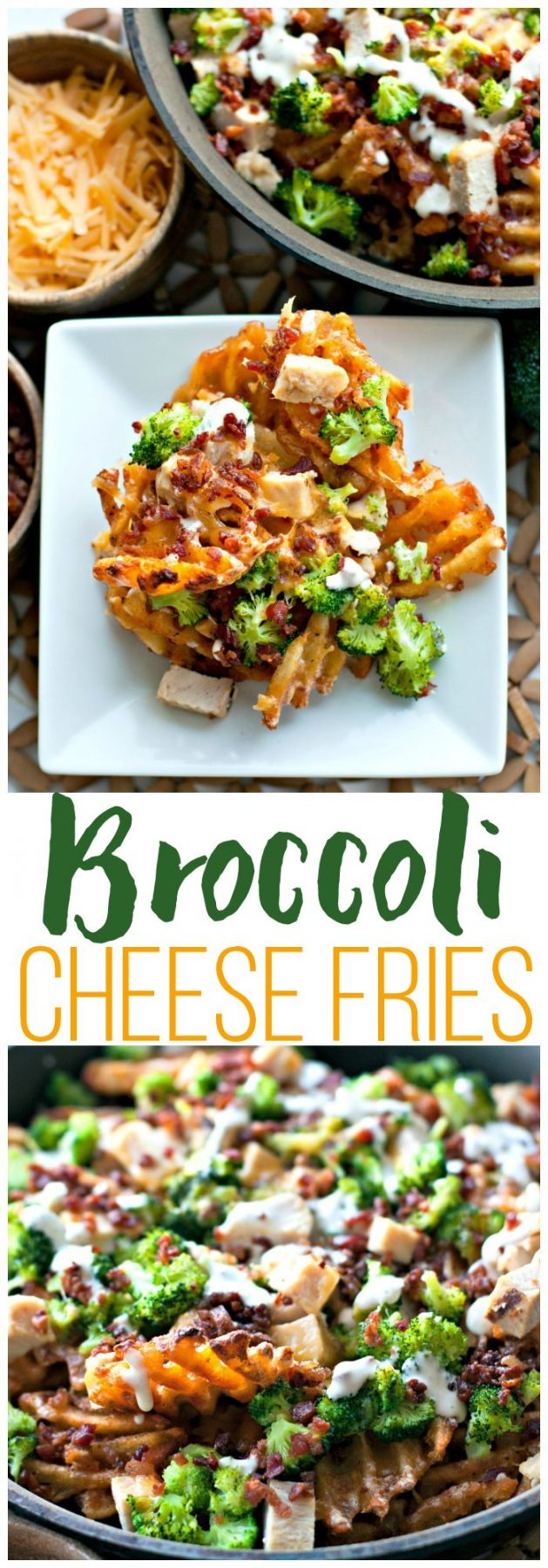 Picture collage of broccoli cheese fries for Pinterest.