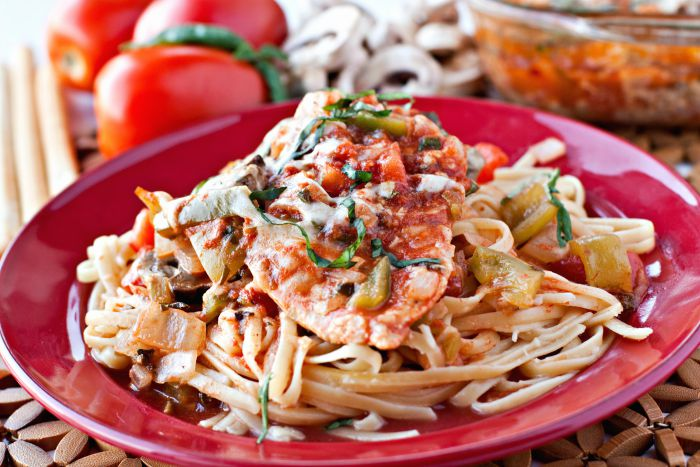 Chicken Cacciatore recipe made healthier by using fresh, local, in-season ingredients.