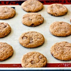 Pumpkin snickerdoodles with cinnamon chips on a baking sheet