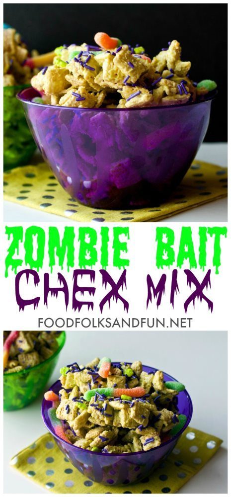 This Zombie Bait Chex Mix is a fun Halloween treat. Grab the kids, they'll LOVE making it with you! Plus you'll only need 4 ingredients!