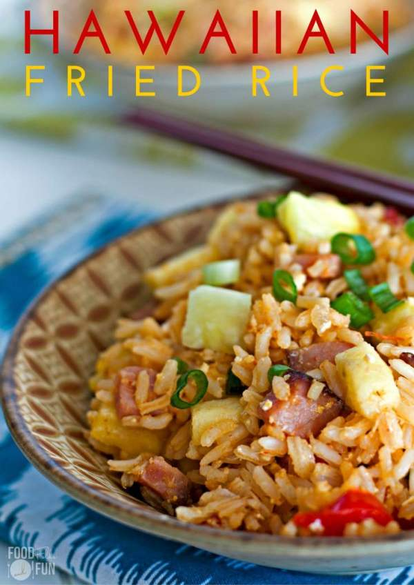 Leftover ham used to make fried rice served in a bowl with chopsticks.