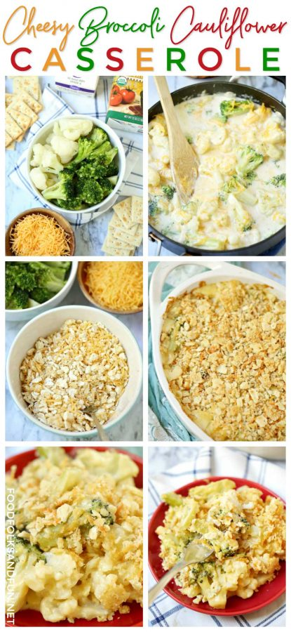 Picture collage showing how to make this casserole.